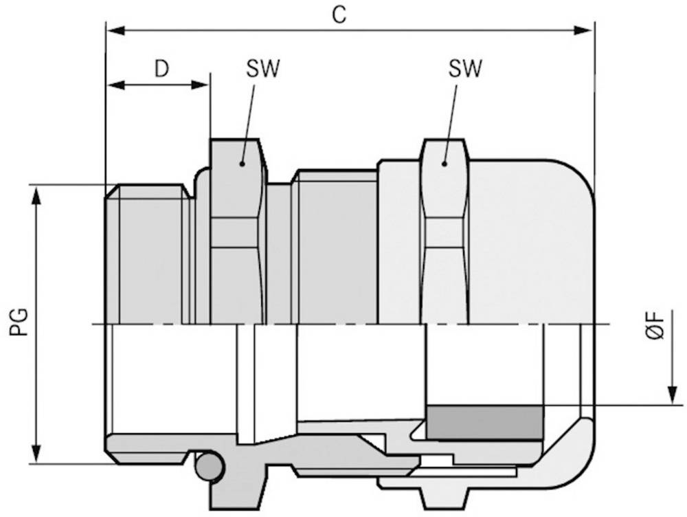 Kabelska uvodnica PG48 medenina, naravna barva LappKabel SKINTOP MS PG 48 5 kosov