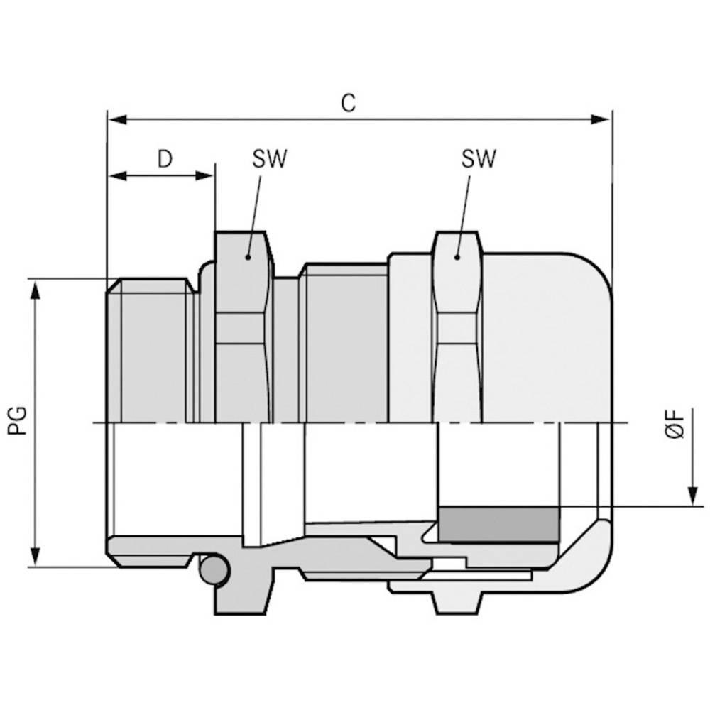 Kabelska uvodnica PG29 medenina, naravna barva LappKabel SKINTOP MSR-XL PG 29 25 kosov