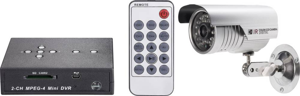 Renkforce Nadzorni komplet, 2-kanalni SDHC digit. snemalnik, CMOS barvna kamera, 600 TVL