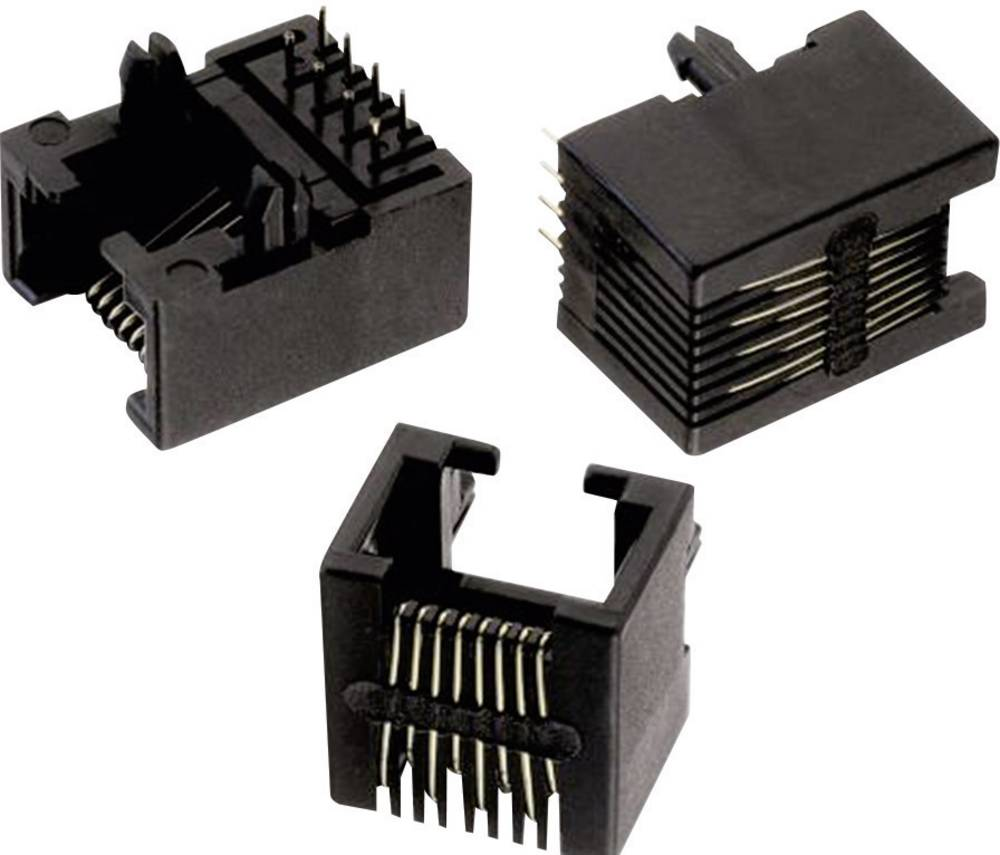 Modularni vtič, Tab Down, nezaščiten THT 8P8C WR-MJ vtičnica, vgraden horizontalen, polov: 8P8C črne barve Würth Elektronik 6150