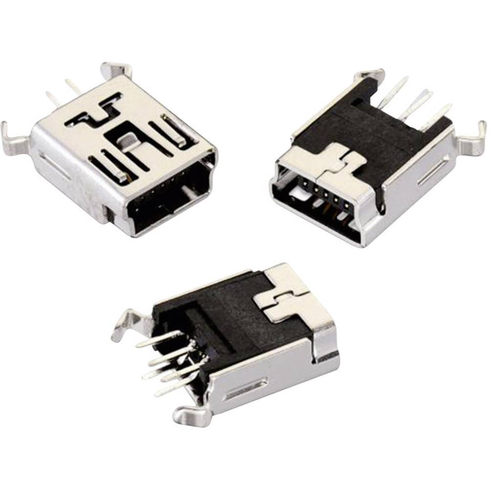 Mini USB , tipa B stoječ 5-polig WR-COM vtičnica, vgraden, vertikalna Würth Elektronik vsebuje: 1 kos