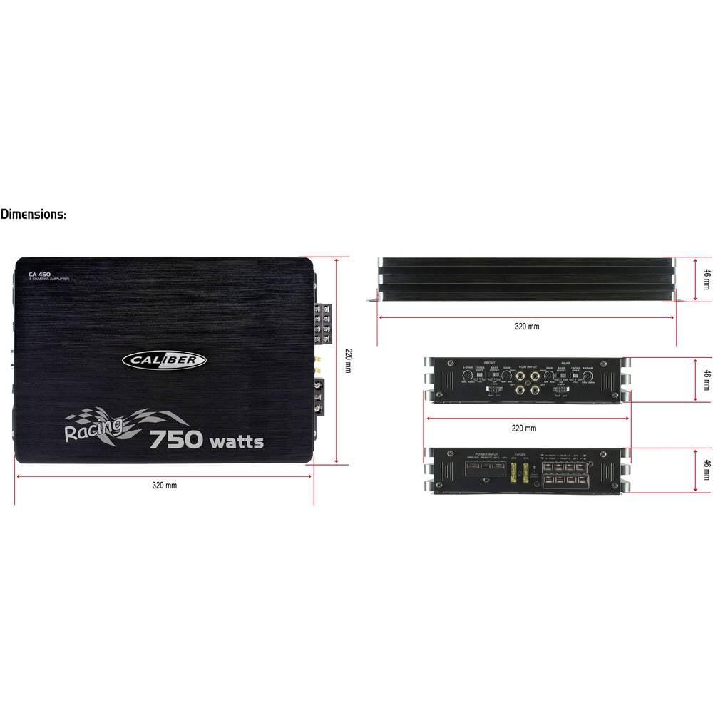 Caliber Audio Technology Ca 450 4 Channel Headstage 600 W From 250 Watt Rms 4channel Car Amplifier Amp Wire Kit Savings