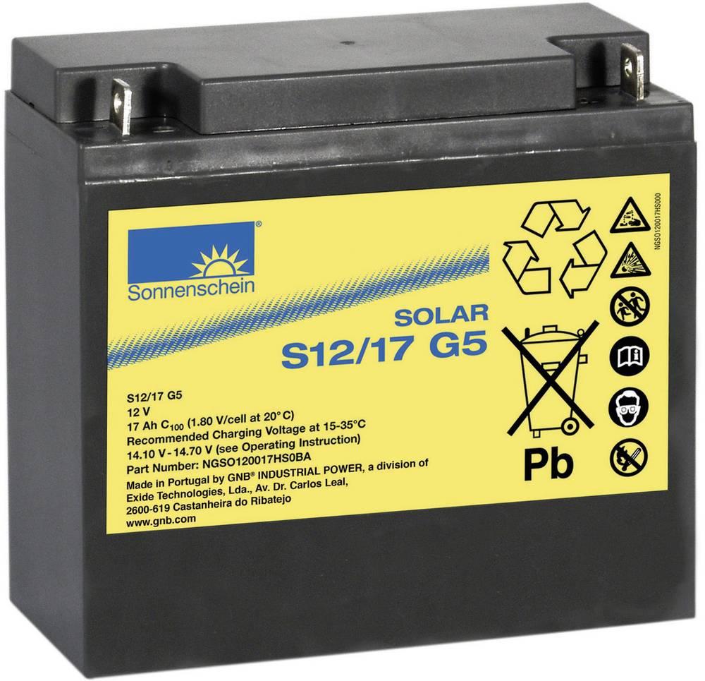 Solarni akumulator 12 V 17 Ah GNB Sonnenschein 985006 svinčevo-gelni 181 x 167 x 76 mm M5-vijačni priklop