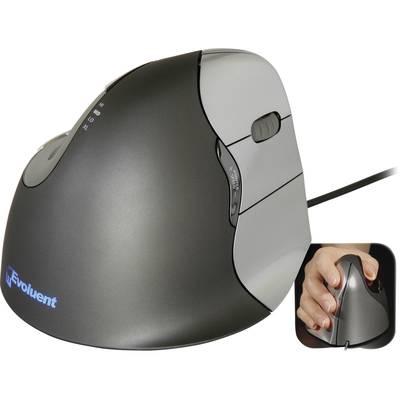Image of Evoluent Vertical Mouse 4 VM4R Corded Ergonomic mouse Optical Ergonomic Black, Silver