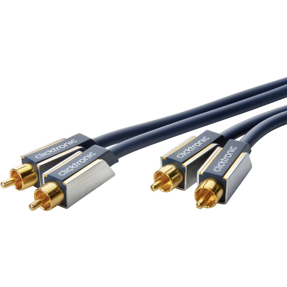 Avdio priključni kabel clicktronic [2x Cinch vtič - 2x Cinch vtič] 15 m moder pozlačen vtični kontakt