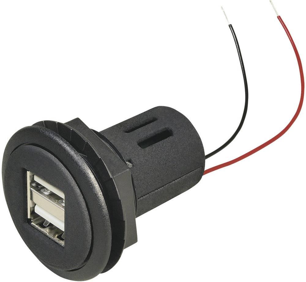 Stikdåse Indbygning, spændemuffe ProCar Power USB Doppelsteckdose 12-24 V 12 V til 5 V, 24 V til 5 V 5 A Kabel afisoleret