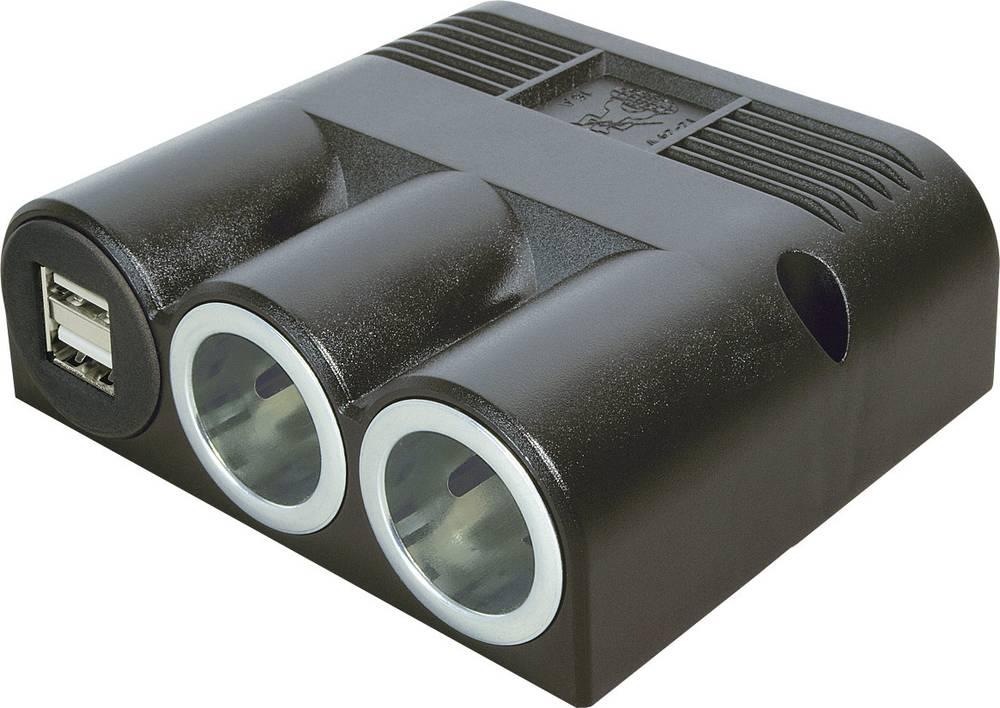 Fordeler Opbygning ProCar Aufbaudreifachsteckdose Power USB Doppel 12 V til 5 V, 24 V til 5 V 16 A 6,3 mm fladstik