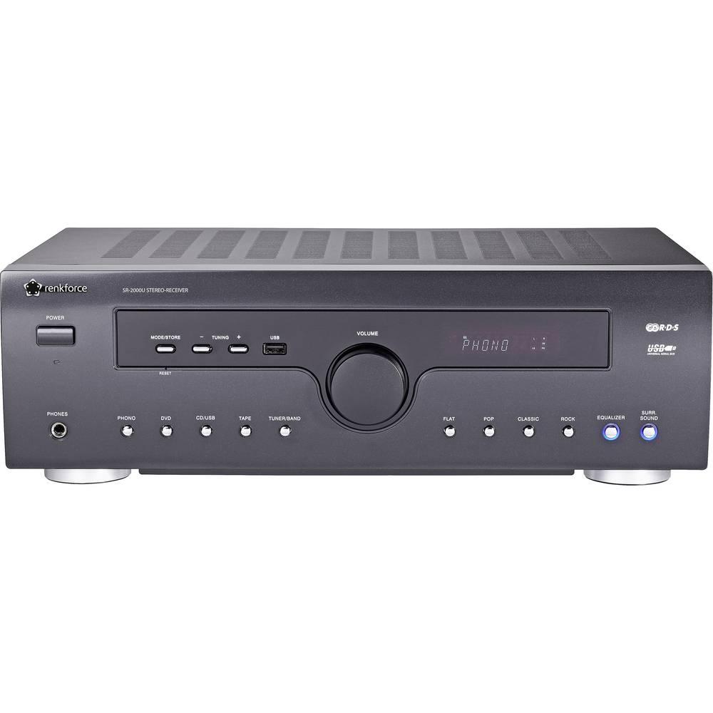 Stereo prijemnik Renkforce SR-2000U 2x50 W crne boje USB
