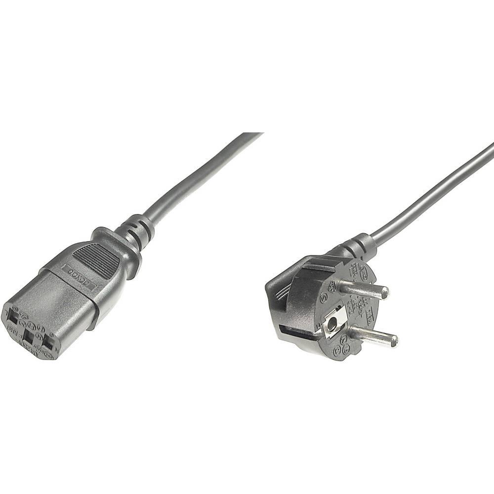 Priključni kabel za hladne uređaje [1x utikač za hladne uređaje C14 - 1x zaštitni utikač] 1.80 m crni Digitus