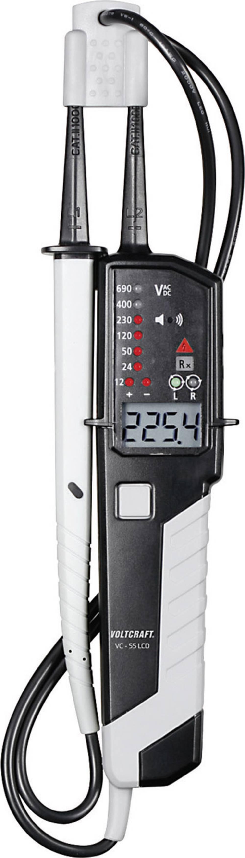 Tvåpolig spänningsprovare VOLTCRAFT VC 55LCD 12–690 VAC/VDC LED/LCD/summer