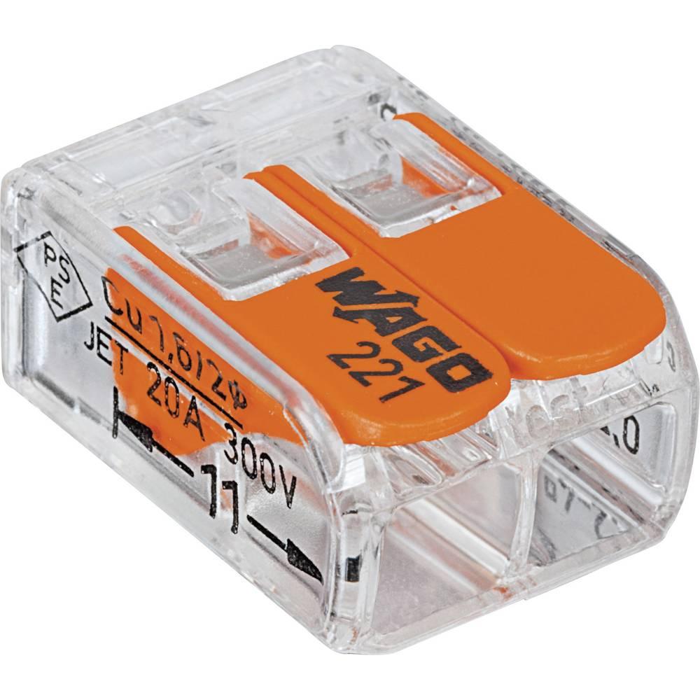 Povezovalna sponka, prilagodljiva: 0.14-4 mm toga: 0.2-4 mm št. polov: 2 WAGO 221-412 100 kos transparentna, oranžna
