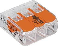 Kopplingsklämma Flexibel: 0.14-4 mm² Styvhet: 0.2-4 mm² Antal poler: 3 WAGO 221-413 50 st Transparent, Orange