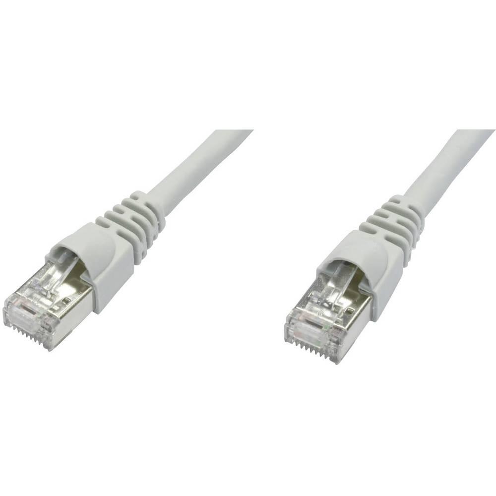 RJ45 omrežni priključni kabel CAT 6A S/FTP [1x RJ45-vtič - 1x RJ45-vtič] 0.50 m bele barve negorljiv, z Rastnasenschu