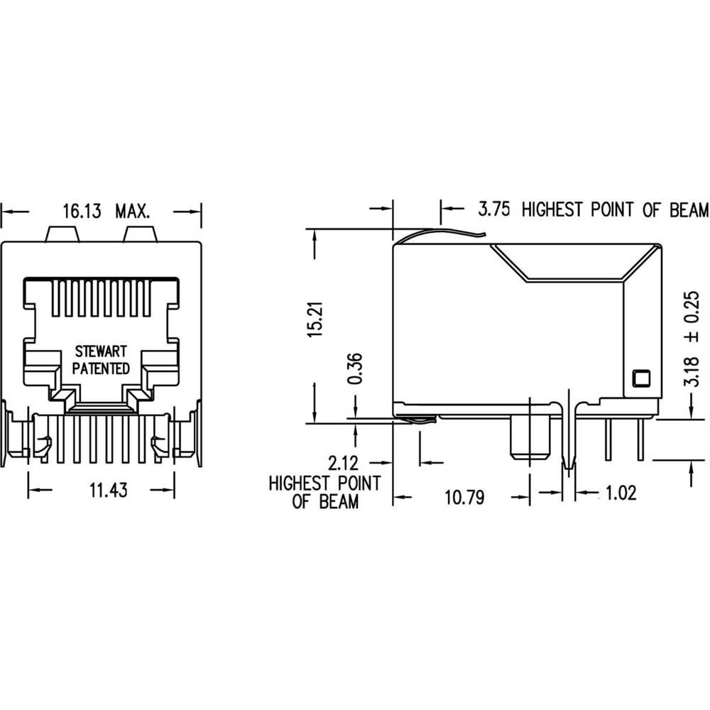 Bel Stewart Connectors Ss71800 014f Pin Rj45 Socket Horizontal 10 Connector Wiring Diagram Mount Nickel Coated