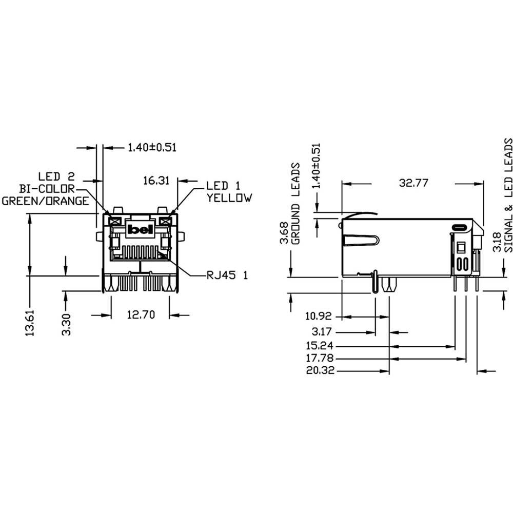 Bel Stewart Connectors 0826 1x1t 23 F Pin Rj45 Socket Horizontal 10 Connector Wiring Diagram Mount Nickel Coated