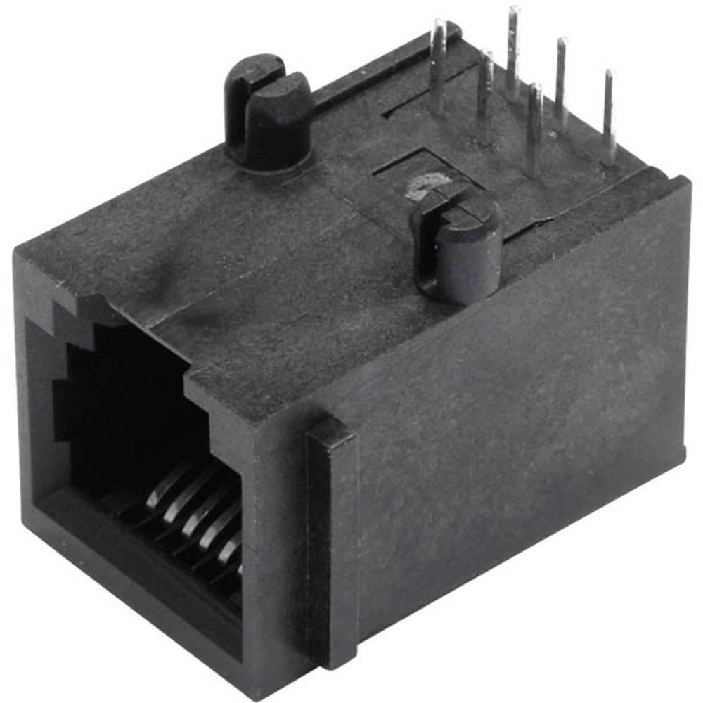 Modularna-vgradna vtičnica, nezaščitena, s prirobno vtičnico, vgradna, horizontalna, polov: 6P6C SS64600-015F črne barve BEL Ste