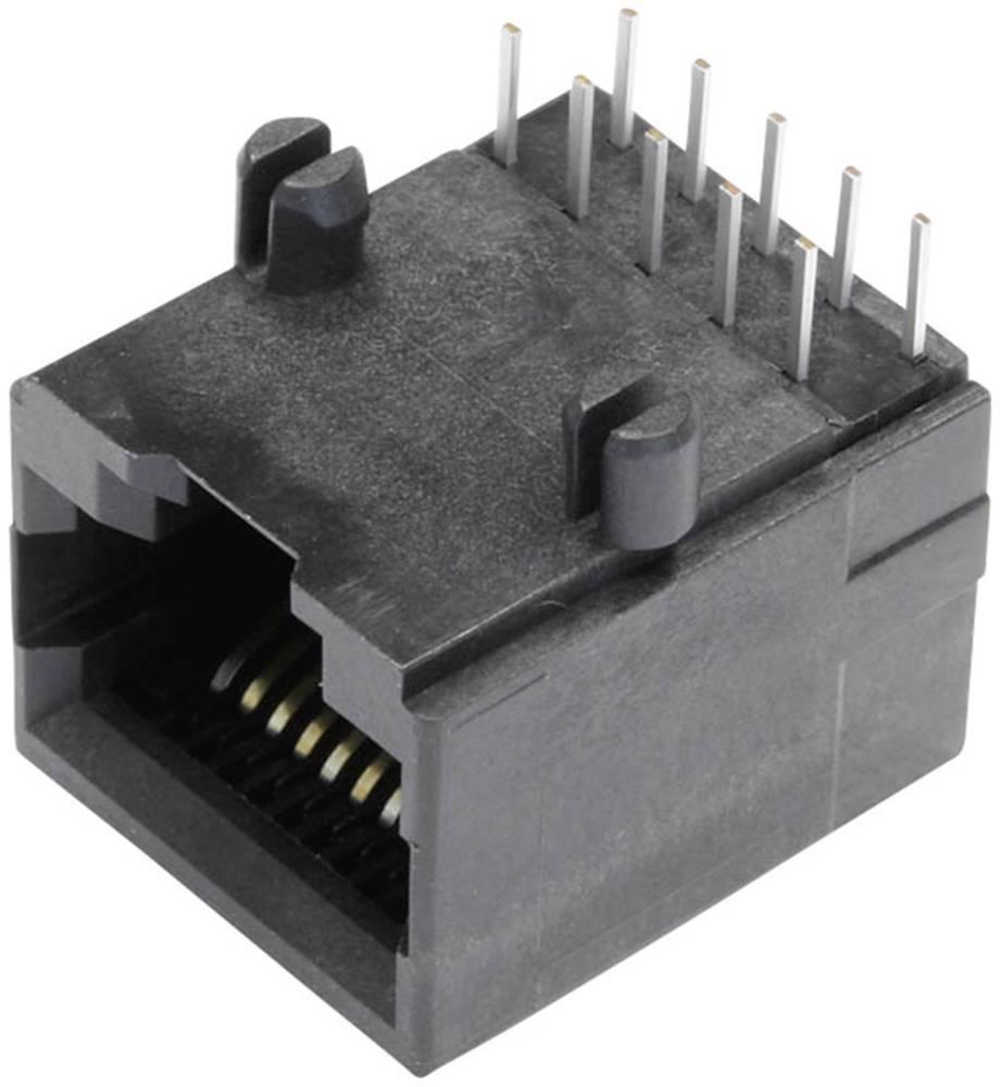 Modularna-vgradna vtičnica, nezaščitena, vtičnica, vgradna, horizontalna, polov: 10P10C SS64100-018F črne barve BEL Stewart Conn