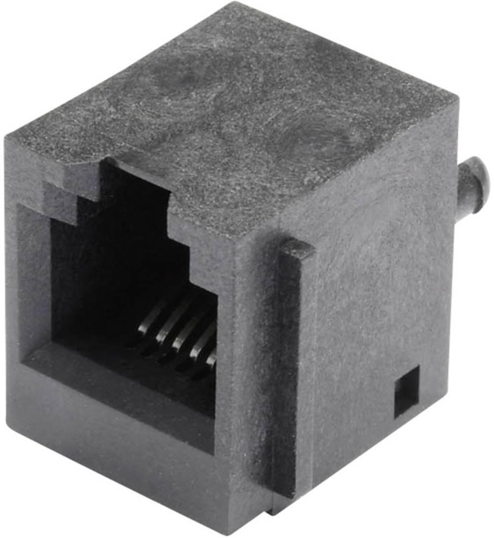 Modularna-vgradna vtičnica, vertikalna, nezaščitena, s prirobno vtičnico, vgradna, vertikalna, polov: 6 P6C SS65600-004F črne ba