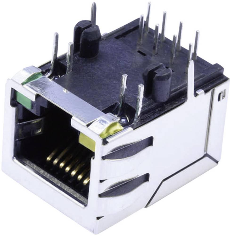 Modularna-vgradna vtičnica, mit LEDs , zaščitena z zaščitnimi zakrilci, vgradna, horizontalna, polov: 8P8C SS74800-038F poniklja
