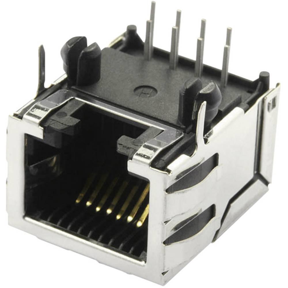 Modularna-vgradna vtičnica, zaščitena kat.5 z zaščitnimi zakrilci, vgradna, horizontalna, polov: 10P8C SS70100-011F ponikljan, k