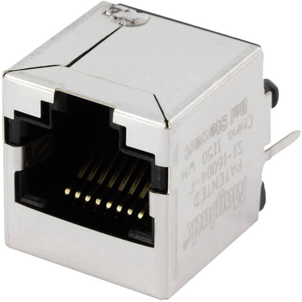 MagJack 10/100Base-TX vertikalen 4 pretvornik, vtičnica, vgraden vertikalen 10/100Base-TX, polov: 8P8C SI-16004-F ponikljan, kov