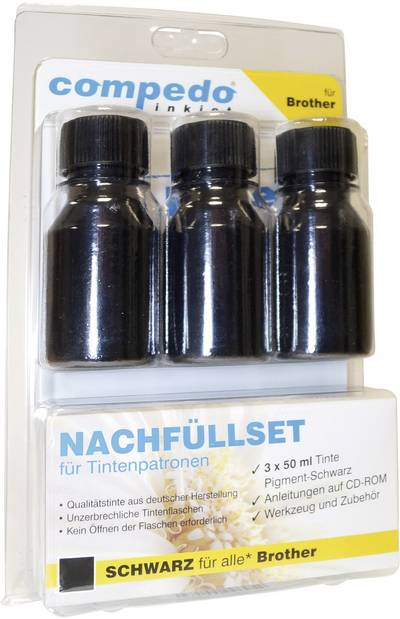 Image of Ink cartrigde refill kit compedo MREFILL03 Compatible with (manufacturer brands): Brother Black Total ink volume: 150 ml