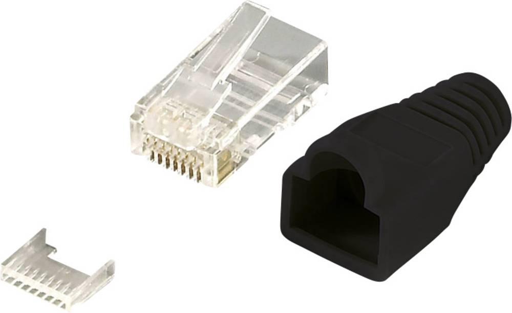 RJ45-vtični konektor, CAT 6, z nezaščitenim vtičem, raven, polov:8P8C MP0024 črne barve LogiLink MP0024 100 kosov
