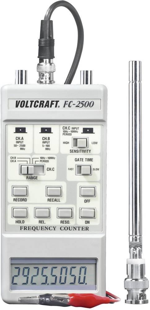 Frekvenstæller FC-2500 VOLTCRAFT FC-2500 50 MHz - 2.5 GHz 10 MHz - 500 MHz 10 Hz - 10 MHz Fabriksstandard