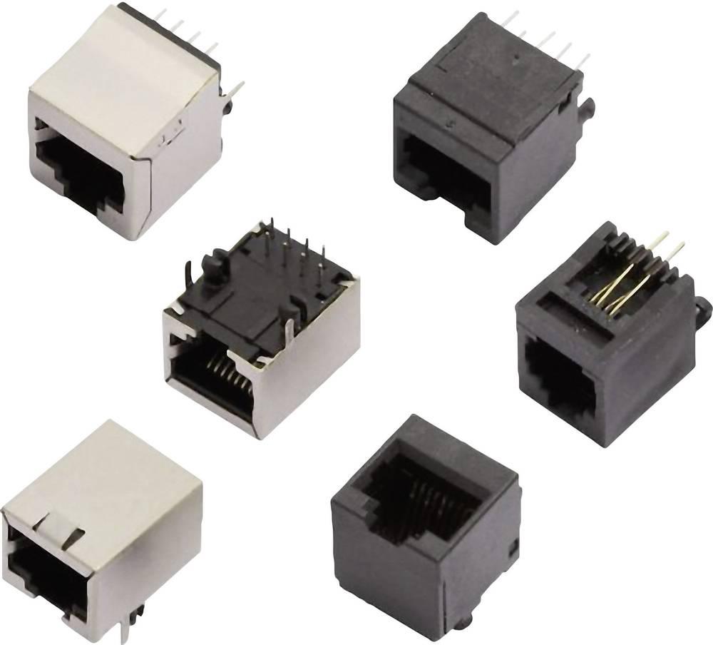 RJ11-vgradna vtičnica, vgradna, horizontalna, polov: 6P4C MHRJJ64NFRA črne barve MH Connectors 2101-0100-14 1 kos