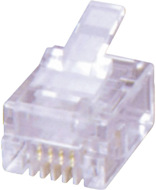 RJ10 Stik, lige MH Connectors MHRJ114P4CR Transparent 1 stk