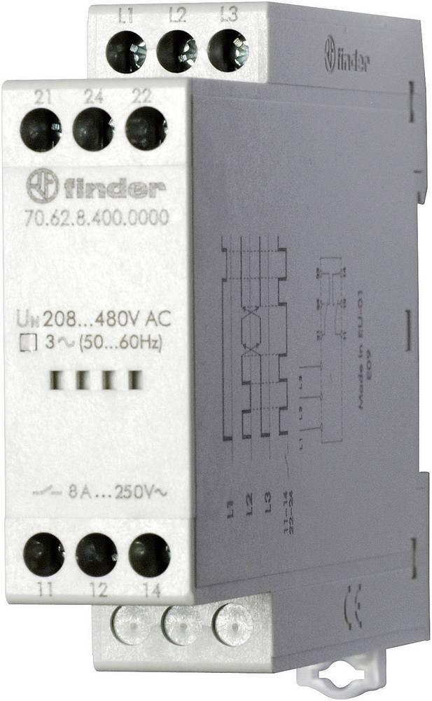 Overvågningsrelæer 520 - 170 V/AC 2 x omskifter 1 stk Finder 70.62.8.400.0000 3-fase, Overvågning netværk, Fasefølge, Faseudfald