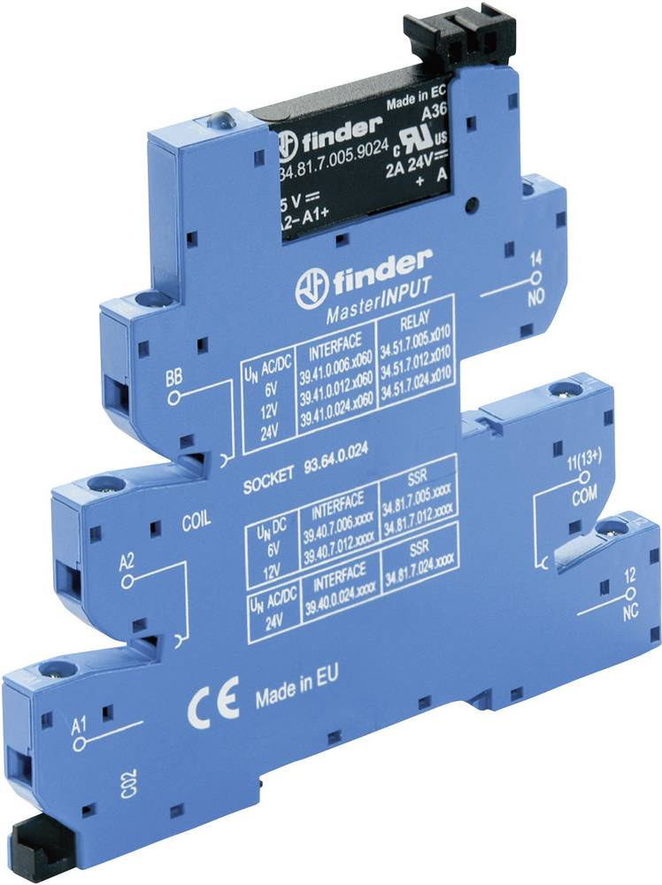 MasterInput ozki preklopni rele za DIN-letev 1 kos Finder 39.40.7.006.9024 napetost 24 V/DC