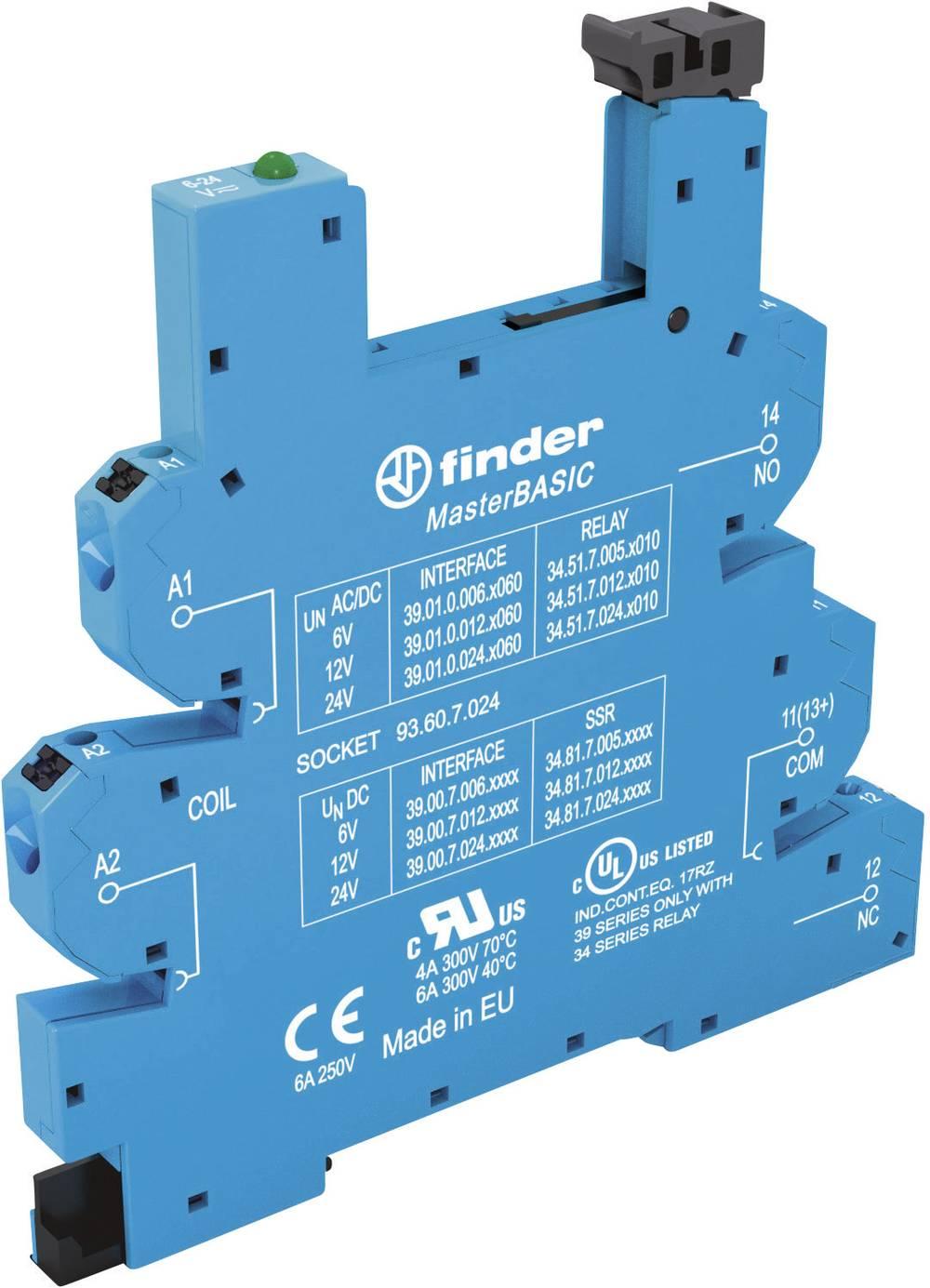 Relæsokkel med holdebøjle, med LED, med EMC-bestykning af relæspolen 1 stk Finder 93.60.8.230 Passer til serie: Phoenix Contact