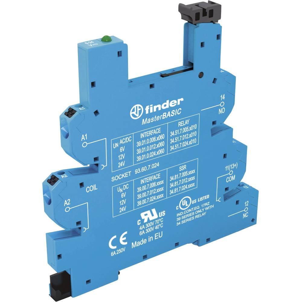 Podnožje za EMV rele z LED in s plastično zaponko za varno odstranitev 1 kos Finder 93.60.7.024 Finder Serie 34 Finder 34.51, Fi