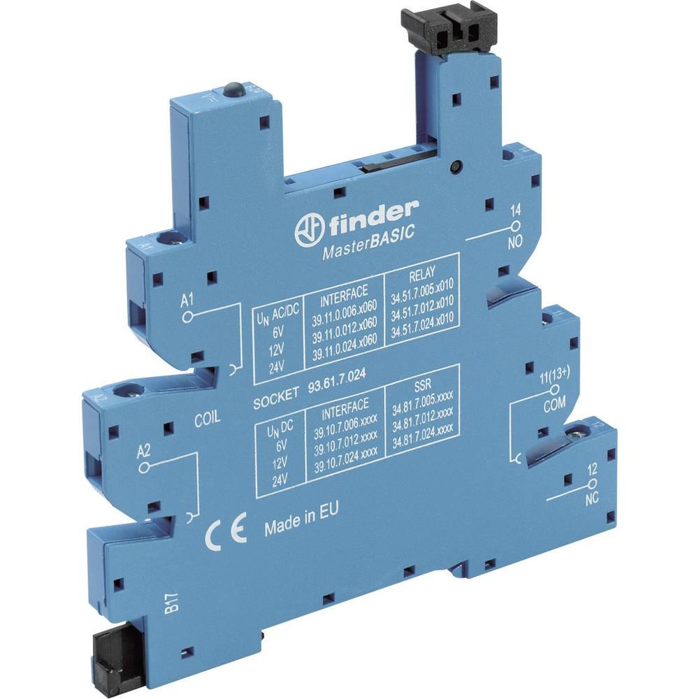 Relæsokkel med holdebøjle, med LED, med EMC-bestykning af relæspolen 1 stk Finder 93.61.8.230 Passer til serie: Phoenix Contact