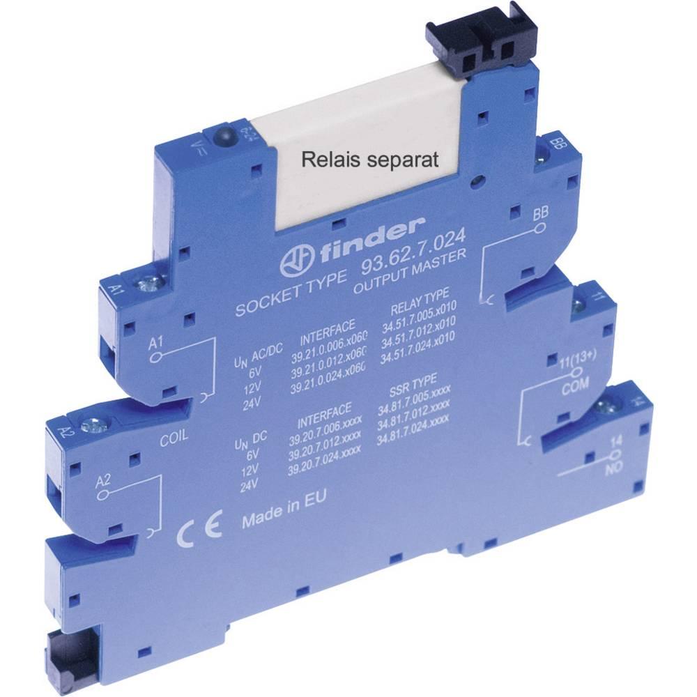 Podnožje za EMV rele z LED in s plastično zaponko za varno odstranitev 1 kos Finder 93.62.7.024 Finder Serie 34 Finder 34.51, Fi