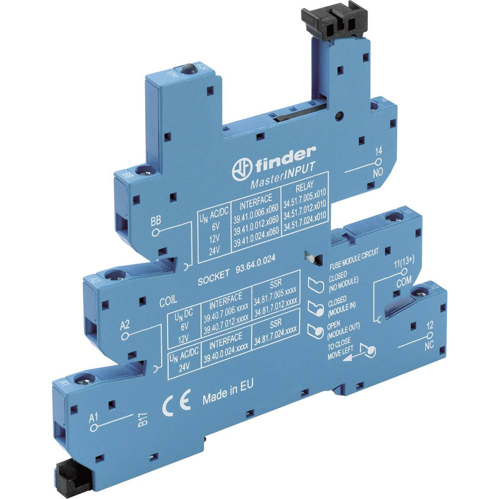Relæsokkel med holdebøjle, med LED, med EMC-bestykning af relæspolen 1 stk Finder 93.64.8.230 Passer til serie: Phoenix Contact
