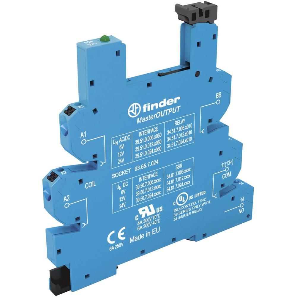 Podnožje za EMV rele z LED in s plastično zaponko za varno odstranitev 1 kos Finder 93.65.7.024 Finder Serie 34 Finder 34.51, Fi