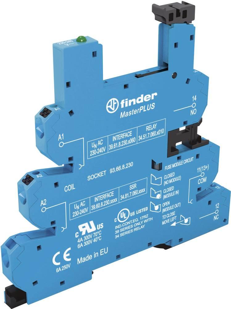 Relæsokkel med holdebøjle, med LED, med EMC-bestykning af relæspolen 1 stk Finder 93.66.0.125 Passer til serie: Phoenix Contact