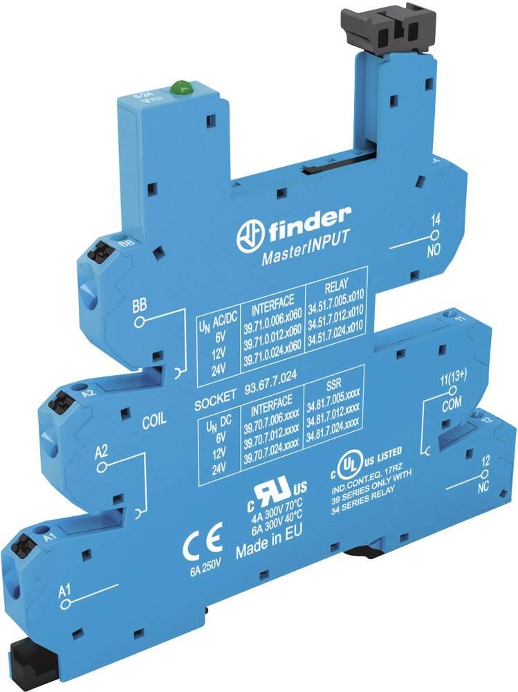 Relæsokkel med holdebøjle, med LED, med EMC-bestykning af relæspolen 1 stk Finder 93.67.0.125 Passer til serie: Phoenix Contact