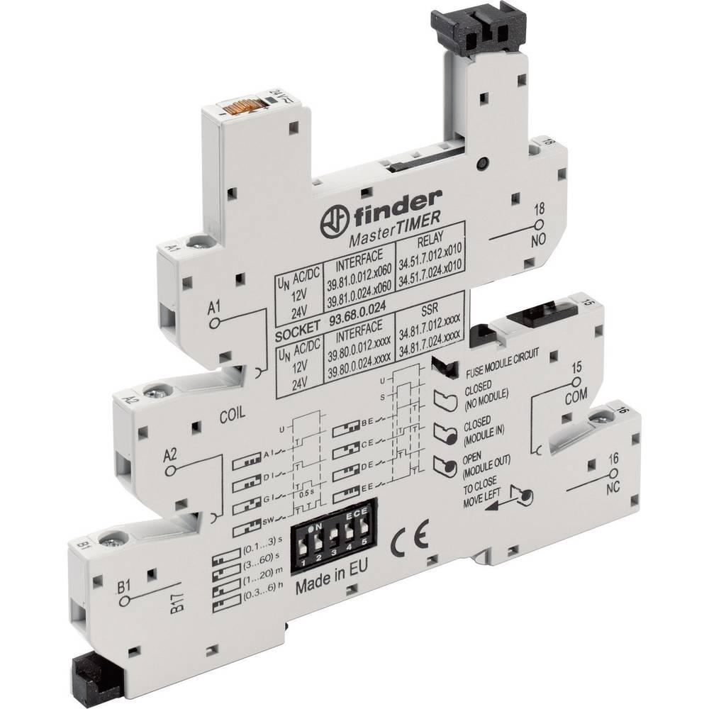 Podnožje za EMV rele z LED in s plastično zaponko za varno odstranitev 1 kos Finder 93.68.0.024 Finder Serie 34 Finder 34.51, Fi