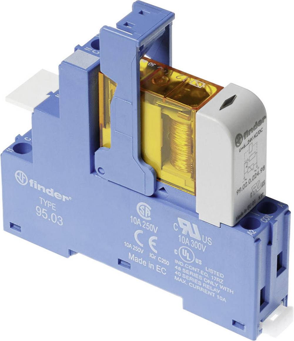 Relækomponent 1 stk Finder 48.31.7.024.5050 Nominel spænding: 24 V/DC Brydestrøm (max.): 10 A 1 x skiftekontakt