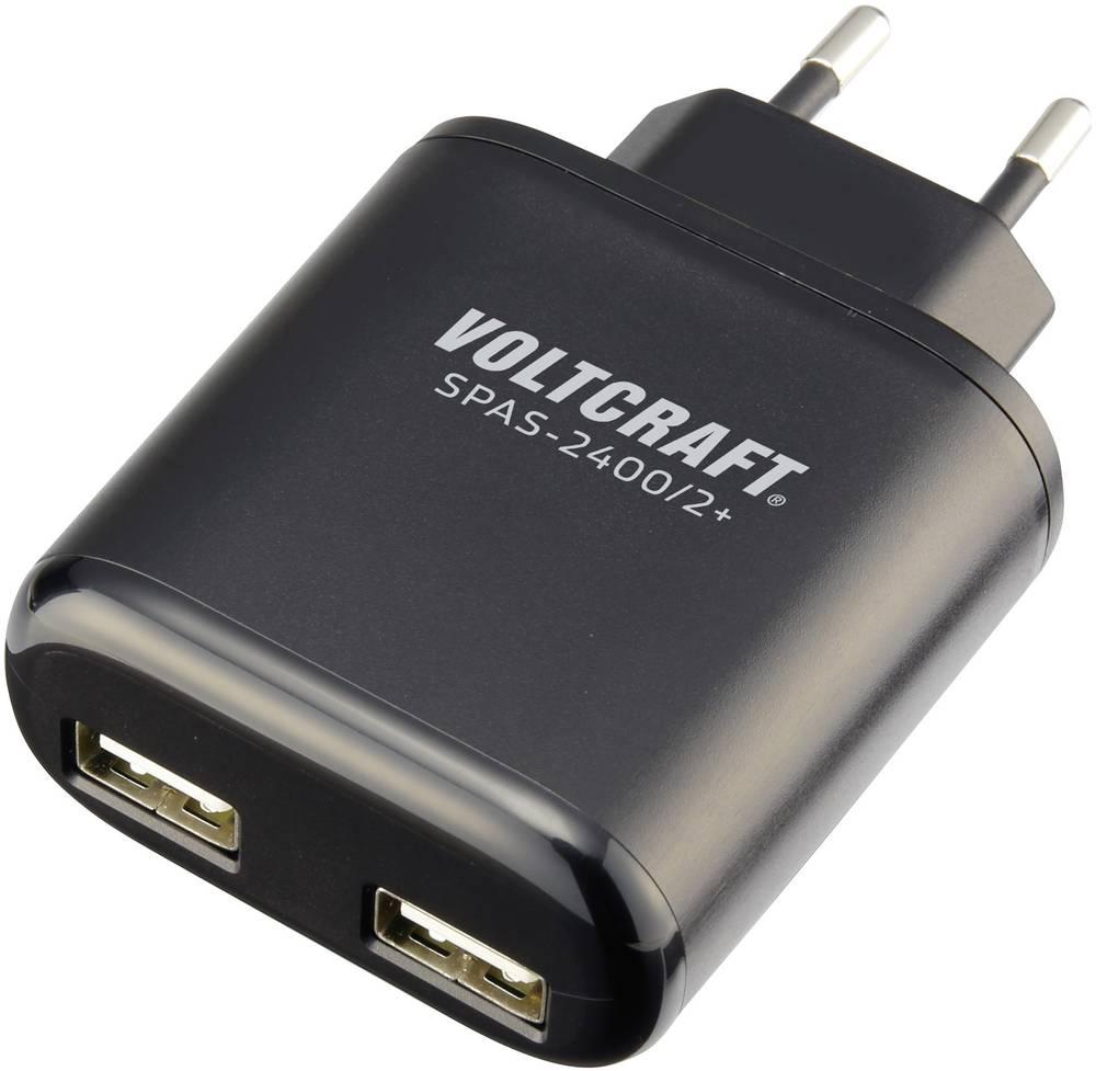 Vägguttag USB-laddare VOLTCRAFT SPAS-2400/2+ 2 xUSB 4800 mA Svart