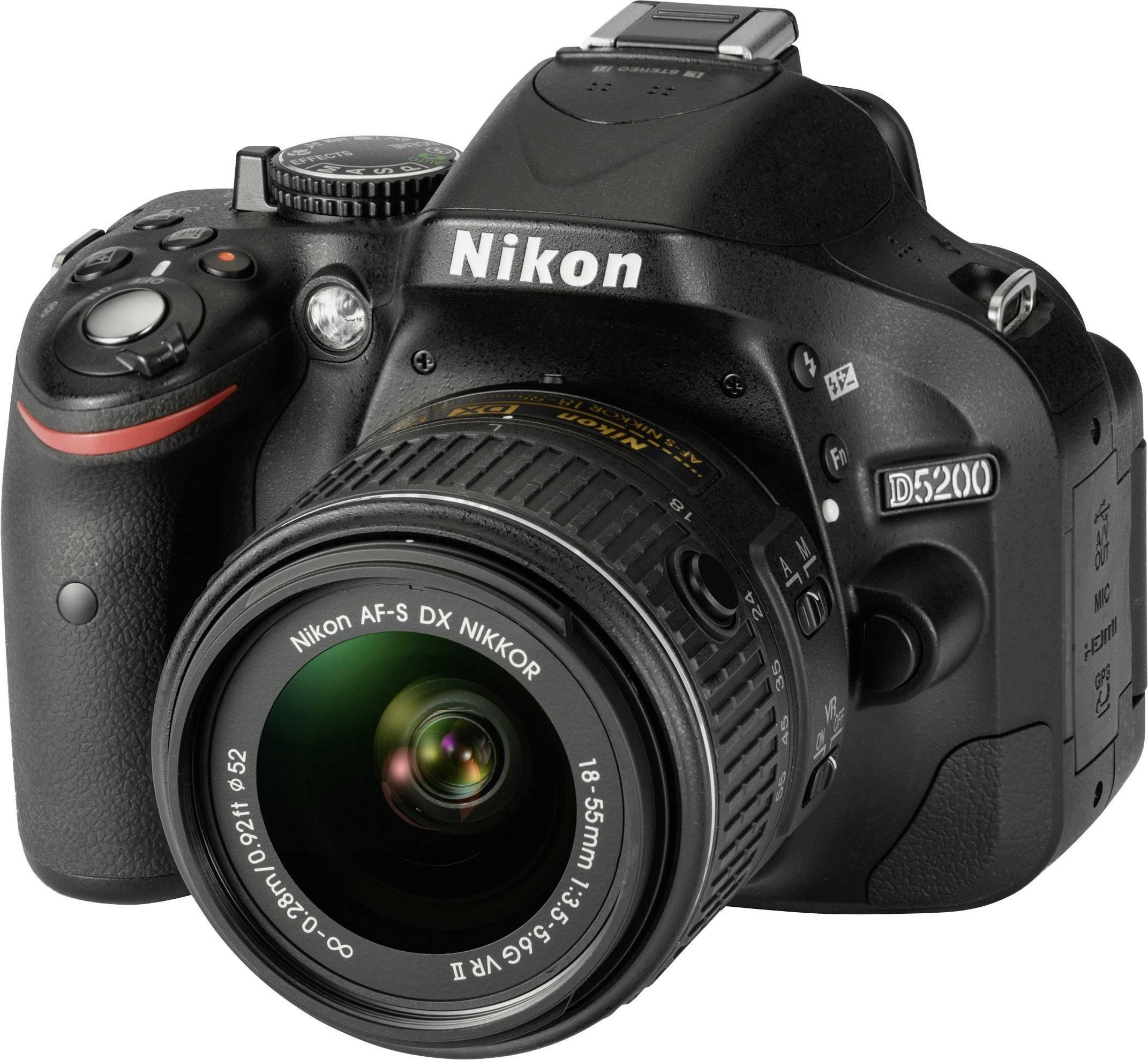 Nikon D5200 18 55 Vr Ii Dslr Camera Af S Dx Nikkor 18 55 Mm Vr Ii Black Full Hd Video Pivoted Display Optical Viewf Conrad Com