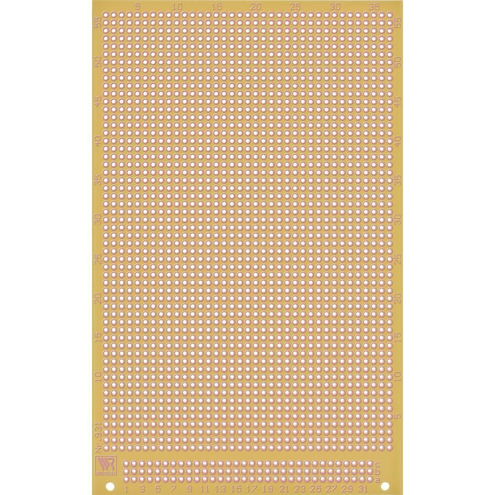 Printplade til eksperimenter Epoxid (L x B) 160 mm x 100 mm 35 µm Rastermål 2.54 mm WR Rademacher VK C-931-EP Indhold 1 stk