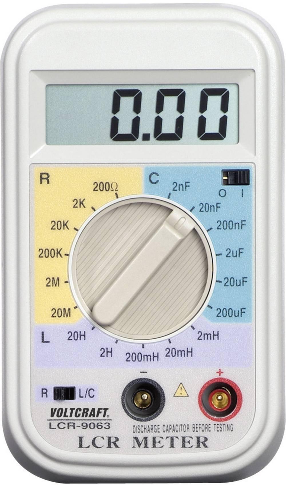 Tester komponent, digitalni VOLTCRAFT LCR-9063 kalibracija narejena po: delovnih standardih, CAT I število znakov na zaslonu: 20