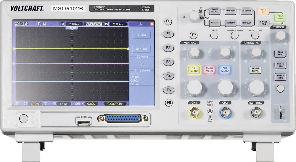 Digitalni osciloskop VOLTCRAFT MSO-5102B 100 MHz 18-kanal 1 GSa/s 512 kpts 8 Bit kalibriran po ISO digitalni pomnilnik (DSO), me