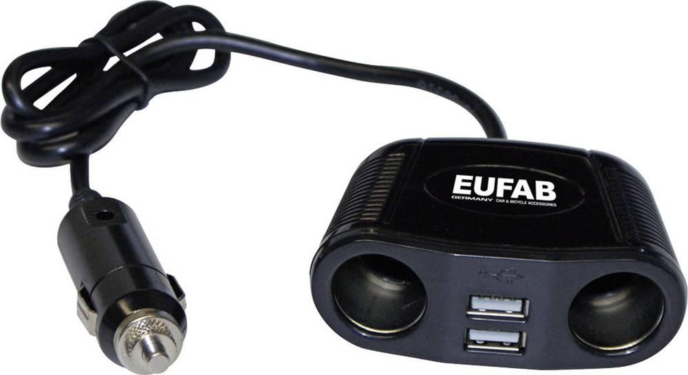 Eufab Dvojna vtičnica 12V s kablom in USB-priključkom, maks. tokovna obremenitev: 10 A za cigaretni vžigalnik