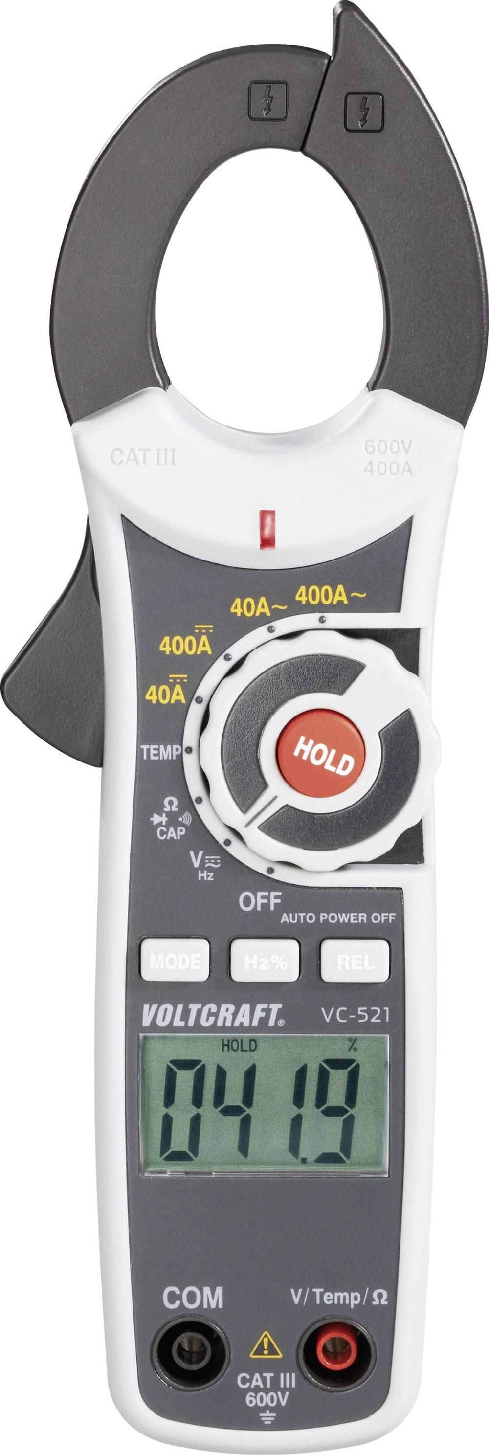Tokovne klešče, ročni multimeter, digitalni VOLTCRAFT VC-521 kalibracija narejena po: delovnih standardih, CAT III 600 V število