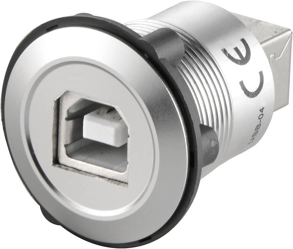 USB-bøsning (type B) til USB-bøsning (type B) TRU COMPONENTS USB-04 USB 2.0 Sølv 1 stk